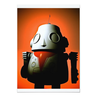Retro Cropped Toy Robot 01 Invitation