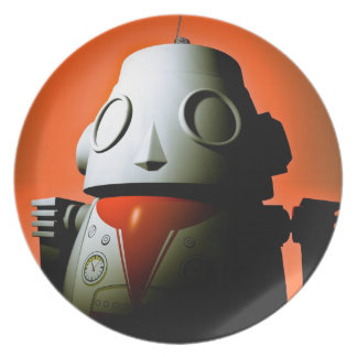 Retro Cropped Toy Robot 01 Plate