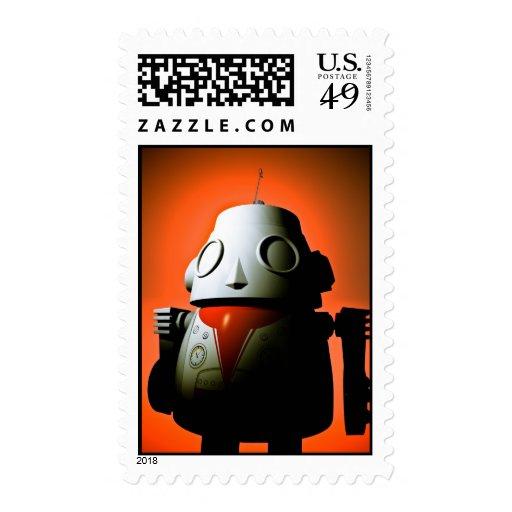 Retro Cropped Toy Robot 01 Postage