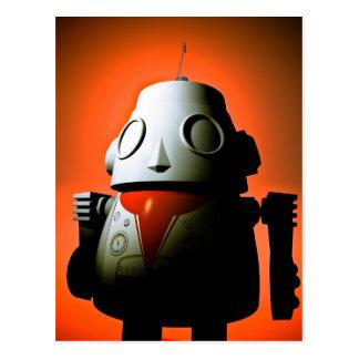 Retro Cropped Toy Robot 01 Postcard