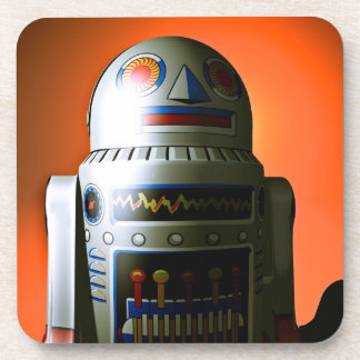 Retro Cropped Toy Robot 02 Cork Coaster