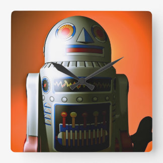 Retro Cropped Toy Robot 02 Square Wall Clock