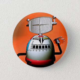 Retro Cropped Toy Robot 03 Button