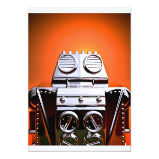Retro Cropped Toy Robot 04 Invitation