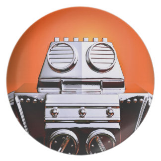 Retro Cropped Toy Robot 04 Plate