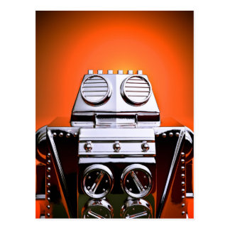 Retro Cropped Toy Robot 04 Postcard