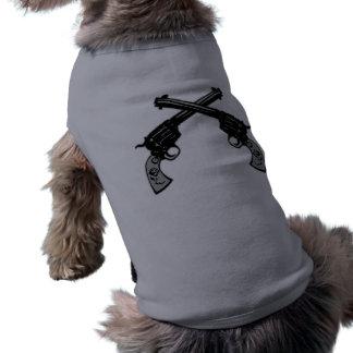 Retro Crossed Pistols Dog T Shirt