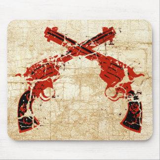 Retro Crossed Pistols Mouse Pad