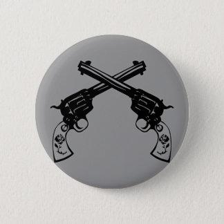 Retro Crossed Pistols Pinback Button