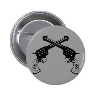 Retro Crossed Pistols Pinback Button