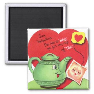 Retro Cup of Tea Valentine 2 Inch Square Magnet