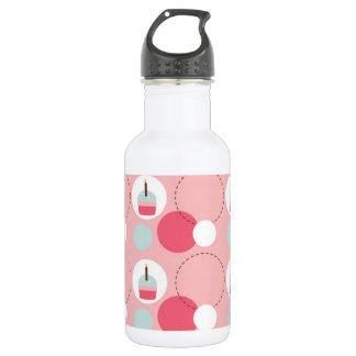 Retro Cupcake Birthday Pattern Water Bottle