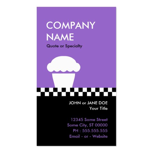 retro cupcake checkers punchcard business card templates