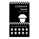 retro cupcake checkers punchcard business card template