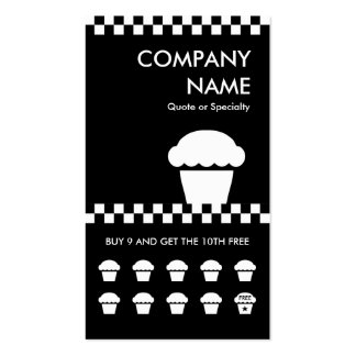 retro cupcake checkers punchcard Double-Sided standard business cards (Pack of 100)