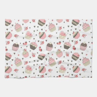 Retro Cupcake Pattern Kitchen Towels