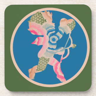 Retro Cupid for Valentines Day Drink Coaster