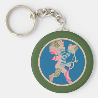 Retro Cupid for Valentines Day Keychain