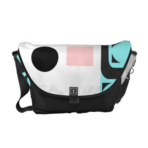Retro Curved Lines Squares and Circles Courier Bag