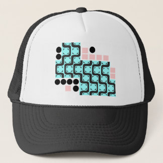 Retro Curved Lines Squares and Circles Trucker Hat