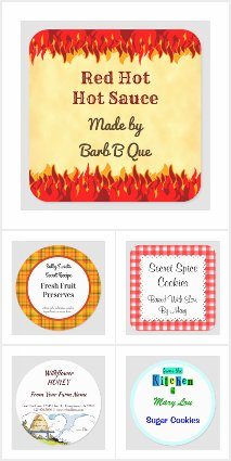 Retro Custom Baking and Canning Stickers and Tags