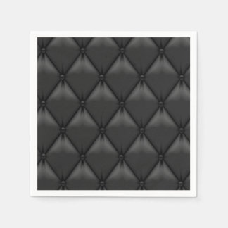 Retro Custom Black Leather Standard Cocktail Napkin