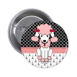 Retro custom girly diva pink Paris Poodle Button