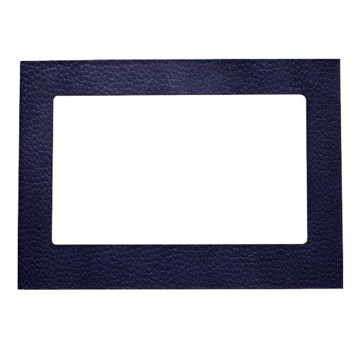 Retro Custom Navy Blue Leather Photo Frame Magnet