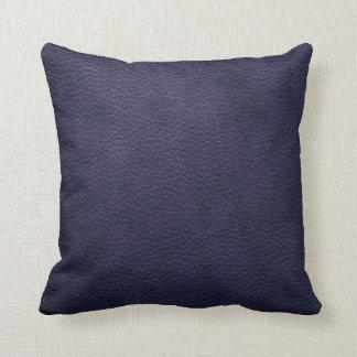 Retro Custom Navy Blue Leather Throw Pillow