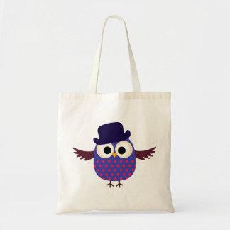 Retro Custom Purple Owl With Hat Tote Bags