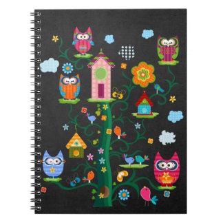 Retro Custom Trendy Colorful Owl Spiral Note Book