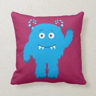Retro Cute Blue Monster Throw Pillows