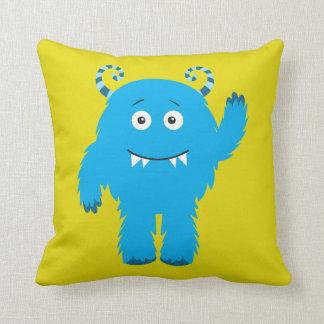 Retro Cute Blue Monster Pillow