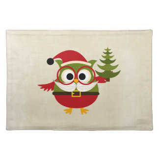 Retro Cute Christmas Owl Placemat