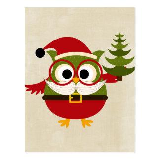 Retro Cute Christmas Owl Postcard