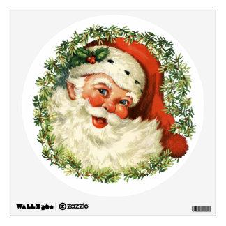 Retro Cute Chubby Santa Wreath Christmas Holiday Wall Sticker
