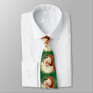 Retro Cute Chubby Santa Wreath Holiday Apparel Tie