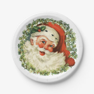 Retro Cute Chubby Santa Wreath Holiday Party Paper Plate