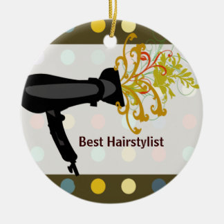 Retro Cute Colorful Salon Hair Stylist Double-Sided Ceramic Round Christmas Ornament