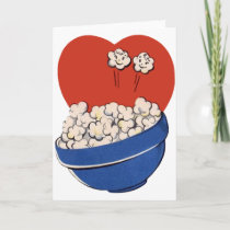 Retro Cute Humor, Bowl of Popcorn for the Movies! Holiday Card