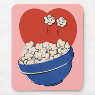 Retro Cute Humor, Bowl of Popcorn for the Movies! Mouse Pad