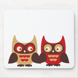 Retro cute kawaii owls holding hands graphic mouse pad