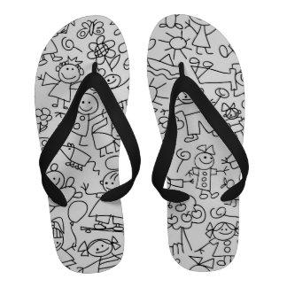 Retro Cute Kids Children Pattern Flip-Flops