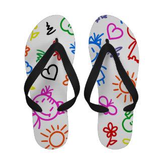 Retro Cute Kids Children Pattern Flip Flops