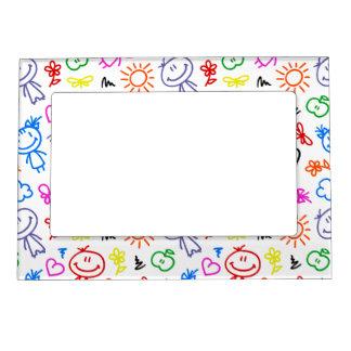 Retro Cute Kids Children Pattern Frame Magnets
