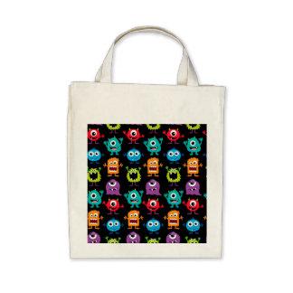 Retro Cute Monster Pattern Tote Bags