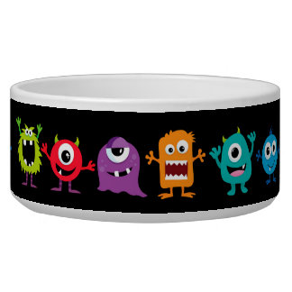 Retro Cute Monster Pattern Dog Food Bowl
