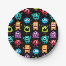 Retro Cute Monster Pattern Paper Plate