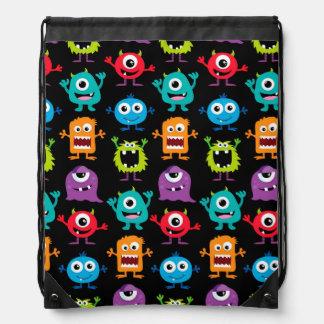 Retro Cute Monster Pattern Drawstring Backpacks