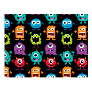 Retro Cute Monster Pattern Postcard